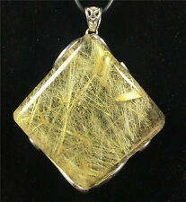 Natural Golden RUTILATED QUARTZ CRYSTAL Rhombus Shape Pendant/Necklace AAAAA