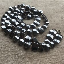 Vintage Necklace Chrome Effect Beads Retro 1980s 30 Inches Disco Silver Colour