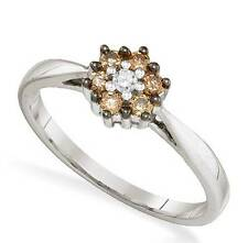 Chocolate Brown & White Diamond Ring 10K White Gold Diamond Cluster .25ct