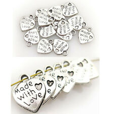 10PCS WHOLESALE SILVER/GOLD PLATED LOVE HEART BEADS CHARMS PENDANTS JEWELRY DIY