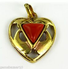Unique Heart Shape Triangular Coral Gemstone Astrological Purpose Pendant-IN-6