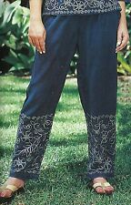 Nwt SACRED THREADS stonewashed navy embroidered rayon long PANTS 3X Free shippin