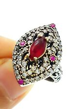 STERLING 925 SILVER SIZE 8.5 RUBY RING TURKISH HANDMADE JEWELRY R2202