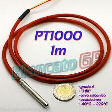 SONDA PT1000 CLASSE A con CAVO SILICONICO SENSORE DI TEMPERATURA RTD TERMOMETRO