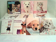 PACK OF 10 ASSORTED CAT AND DOG  ADULT / CHILDREN BIRTHDAY CARDS WITH ENVELOPES