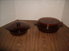 Anchor Hocking Fire King Amber Casserole Dishes 1 Quart Round & 1 1/2 Quart Oval