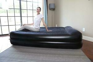 Queen Inflatable Bestway Flocked Aeroluxe Air Bed Mattress w Sidewinder Air Pump