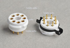 4 ps 8 pin steel Ceramic Machine made Gold tube socket KT88 6SN7 KT66 EL34 ...