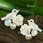 18K ROSE GOLD GF MADE WITH SWAROVSKI CRYSTAL PINK PEARL SHELL BIRD STUD EARRINGS