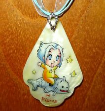 ZODIAC PISCES Pendant Russian hand painted BABY on FISH February March MANGA ART