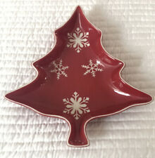 Trade Craft Christmas Tree Shaped Dish Red Ceramic With White Snowflake Design