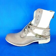 Bunker Ladies Ankle Boots Size 38 Shoes Leather Beige Braun Np 159 New