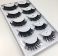 3D 100% Mink Fur Natural Lashes Multiple 5/pair Tray Long Curly & Thick Hair