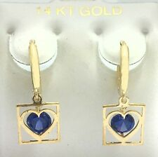GENUINE 1.12 carats TANZANITE Heart HOOPS HUGGIE 14K Yellow Gold EARRINGS