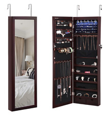 SONGMICS 6 LEDs Jewelry Cabinet Lockable Wall Door Mounted Armoire Organizer 2