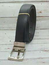 BNWT Mens Size 34 Ed Harry Genuine Leather Reversible Black Brown Textured Belt