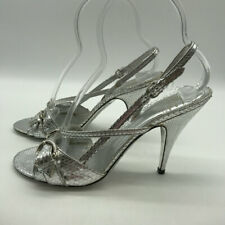 Burberry Silver Textured Slingback Heels Size 9