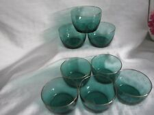 NEVER USED, VINTAGE, SET OF EIGHT , LIBBEY, CLEAR GLASS JUNIPER GREEN ,GOLD RIM,