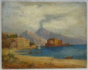 "(B883) Ölgemälde ""Italienische Küste mit Vesuv"" Neapel Napoli Ende 19.Jh"