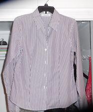 women's top NWT Calvin Klein long sleeve 100% cotton dark gray white pinstripe 8