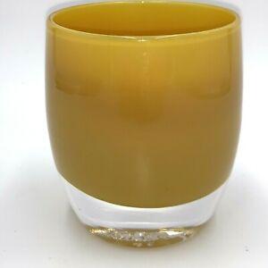 "Glassybaby Dijon Votive Candle Holder Tea Light Mustard Yellow 3.75"""