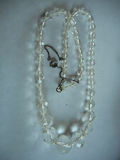 """Antique faceted graduated clear glass necklace, safety chain, 17"""" long"""