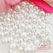 300 pcs 3mm - 8mm White Cabochon faux round Pearl Flat Back Mix SIZE