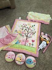 Happi Dena Kidsline 8 PC BABY Girl PINK Crib Owl Bedding Set  FAST SHIP 51815