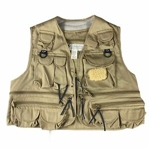 Vintage Columbia Sportswear Vest Hunting Fly Fishing Khaki Beige XL