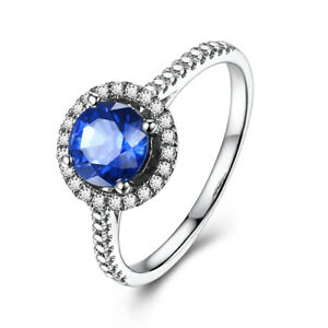 18K White Gold 1.3CT Round Cur Artificial Sapphire Natural Diamonds Wedding Ring