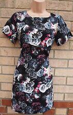 CAMEO ROSE BLACK GREY PINK FLORAL BAGGY TUBE BODYCON TEA RARE DRESS 10 S
