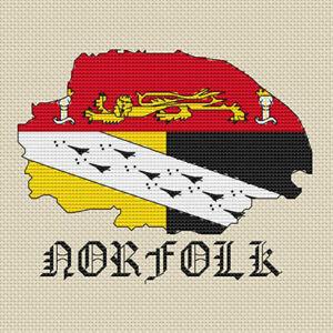 Norfolk Map & Flag Cross Stitch Design (kit or chart)