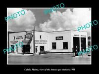 OLD LARGE HISTORIC PHOTO OF CALAIS MAINE THE AMOCO OIL Co SERVICE STATION c1950