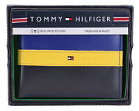 Tommy Hilfiger Men's Leather Wallet Passcase Billfold Rfid Navy Black 31TL220053