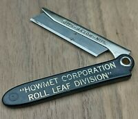 Howmet Corporation Vintage Folding Straight Razor Knife Black Gold Advertising