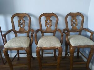 Bar, High Chairs, massive, solid wood, 3 chairs