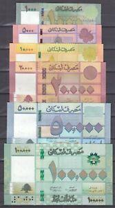 LEBANON 5000 10000 20000 50000 100000 LIVRES 2014 2019 P-91 92 93 94 94 UNC SET