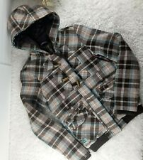 Billabong juniors brown blue plaid wool coat SIZE S hooded quilted (I)