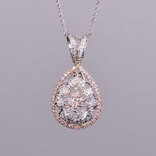 Pear Shaped Pendant with Diamonds in 18k White and Rose Gold
