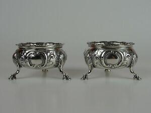 Fine Large Pair of Irish Georgian Sterling Silver Salt Cellars, 18th Cent., 198g