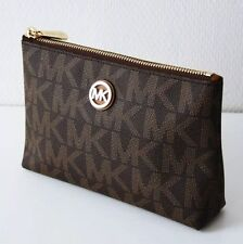 MICHAEL KORS FULTON Tasche TRAVEL CASE Kosmetiktasche PVC Signature braun brown
