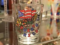 """PUERTO RICO SOUVENIR SHOT GLASS 2 1/4 """" WITH THE MAP OF PUERTO RICO"""