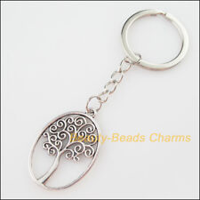 New Tibetan Silver Oval Trees 27x40mm Pendant 32mm Key Ring Metal KeyChain