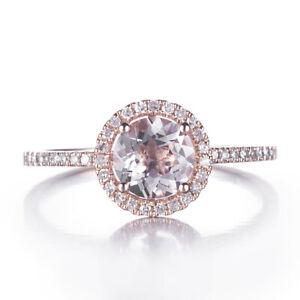 Stunning! 10K Rose Gold 6MM Round Morganite Diamond Halo Engagement  Women Ring