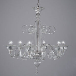 Bassa laguna chandelier in Murano glass 6 lights crystal