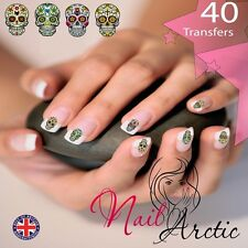 40 x Nail Art Water Transfers Stickers Wraps Decals Candy Skull