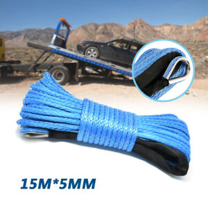 7700 lbs Car Blue Synthetic Tow Winch Line Cable Rope Sheath SUV ATV UTV 15M*5MM