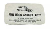 Vtg Van Horn Antique Auto Business Card Killdeer North Dakota Nodak Nubians ND