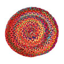 ROUND RAG RUG FAIR TRADE MULTI-COLOURED recycled polyester mat Indian 50cm NEW!