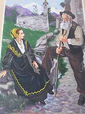 Charles Homualk-Peinture Gouache Originale-Tarentaise-Savoie- folklore-Painting